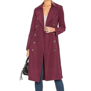 Jackets & Blazers - Long maroon red button up trenchcoat